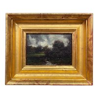 Dennis Sheehan Barbizon Style Landscape Oil Painting with a Brook