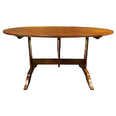 French Style Cherry Wood Oval Tilt Top Wine Table