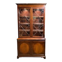Trosby Furniture Sussex Georgian Style Mahogany and Yew Wood Lighted Cabinet