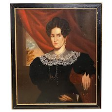 19th c American School Portrait Painting of a Woman in a Black Dress