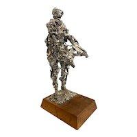 Mid Century Modern Brutalist Figural Metal Sculpture of a Man