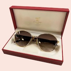 Pair of Vintage Must de Cartier Bagatelle 18K Gold & Wood 55/18 Brown Lens Sunglasses