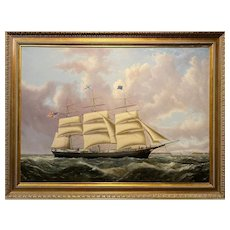 Joseph B. Smith & Son Ship Portrait, Medium Clipper Ocean Express Approaching San Francisco, 1856