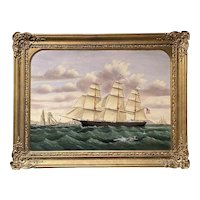 "William Gay Yorke Oil Painting Ship Portrait, Medium Clipper ""Mary"" Inbound off the Skerries, England"