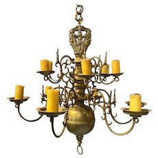 Fine 17th-18th Century Dutch Brass Two-Tier 12-Light Chandelier