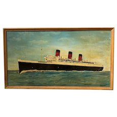 Mid 20th c Genre Oil Painting of the Queen Mary Cruise Ship Ocean Liner