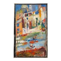 Colorful Impressionist Signed Oil Painting Cityscape with Boats