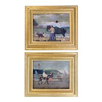Signed Pair of Paintings with Figures, Horses, & Dogs at Brighton Beach, England circa 1895