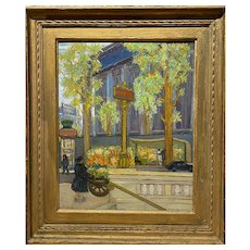 Mario Faustino-Lafetat Oil Painting of a Street Scene, Paris La Madeleine