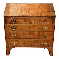 American Hepplewhite Tiger Maple Slant Front Desk, circa 1790