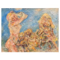 Sabina Teichman Impressionist Oil Painting with Nude Women, Children, & Cats