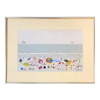 J. Anton Miller Mid Century Mixed Media Naive Impressionist Painting of a Summer Beach Scene