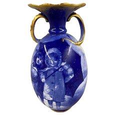 Doulton Burslem English Blue & White Porcelain Handled Vase with Girls & Umbrella