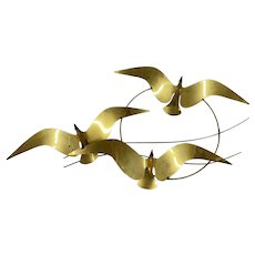 Curtis Jere Mid Century Modernist Brass Wall Sculpture of Birds or Gulls