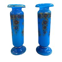 Pair of French Baccarat Opaline Glass Polychrome Vases with Gilt Highlights circa 1890