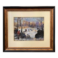 Arthur Clifton Goodwin Pastel Painting, Skaters on Frog Pond, Boston