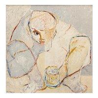 Henri Calixte Haitian Figurative Impressionist Oil Painting, Femme Au Gobelet 1972