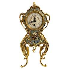 French Louis XIV Style Champlevé Enamel Mantel Clock, circa 1890