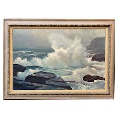 Stephen G. Maniatty Oil Painting Seascape, Monhegan Island Maine