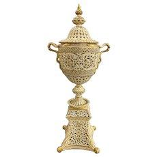English Grainger Royal Worcester Gilt Ivory Porcelain Reticulated Urn