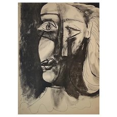 "Pablo Picasso Cubist Head Lithograph '8.6.40"" From His Royan Notebook 1940"