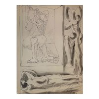 "Pablo Picasso Nudes Lithograph ""19.6.40"" From His Royan Notebook 1940"