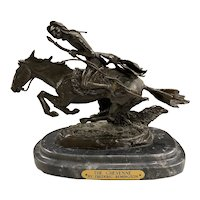 After Frederic Remington Cast Bronze Native American Sculpture, The Cheyenne