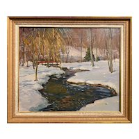 Antonio Cirino Winter Landscape Oil Painting, Streaming Along
