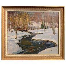Antonio Cirino Winter Landscape Oil Painting, Streaming Along
