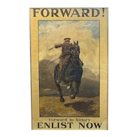 Forward to Victory British WWI Recruitment Poster circa 1915