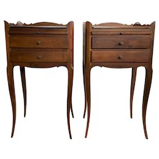 Pair of Late 19th c French Walnut Side Tables with Candle Slides