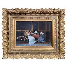 19th c Signed Continental Interior Scene Genre Oil Painting