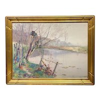 Firmin Balthazar Verhevick Watercolor Landscape Painting of a River