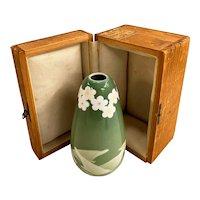 Antique Japanese Studio Ceramic Vase with Birds & Flowers in Custom Box