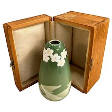 Antique Japanese Studio Ceramic Vase with Birds & Flowers in Custom Box
