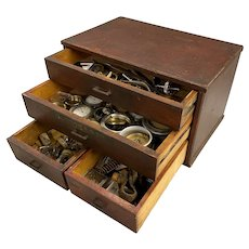 A.Anderson Wooden Watch Repair Chest with Parts & Tools