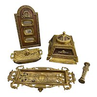 Early 20th Century Five-Piece Brass Desk Set