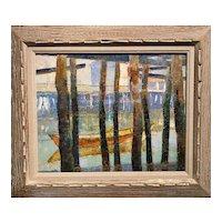 Andrew George Winter Impressionist Coastal Scene, Provincetown Docks circa 1920