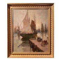 Paul Bernard King New England Marine Oil Painting, Maine Docks