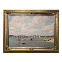 Robert Hogg Nisbet Coastal Oil Painting, Northport Long Island 1914