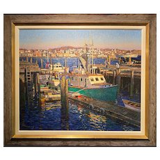 T.M. Nicholas Coastal Oil Painting, Fishing Boats, Rockport