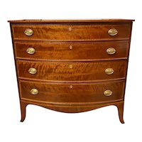 Federal Period Cherry Bow Front Chest with Tiger Maple Inlay