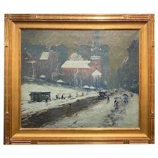 Arthur Clifton Goodwin Oil Painting Cityscape, Boston Winter Scene