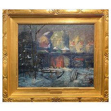 Arthur Clifton Goodwin NY Winter Cityscape, Cathedral Parkway, St. John the Divine