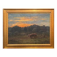 George Arthur Hayes Oil Painting with Farmer & Cows, Ploughin at Dusk