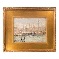 Guy Carleton Wiggins Impressionist Harbor Scene Oil Painting, Gloucester