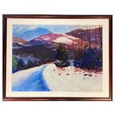 John Whorf Winter Mountain Landscape Watercolor Painting, The Equinox