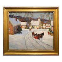 Anthony Thieme Landscape Oil Painting, Mountain Village in Winter