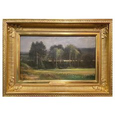Harrison Bird Brown Oil Painting of a New England Landscape with Field & Trees