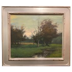 Dennis Sheehan Tonalist Landscape Oil Painting with Brook